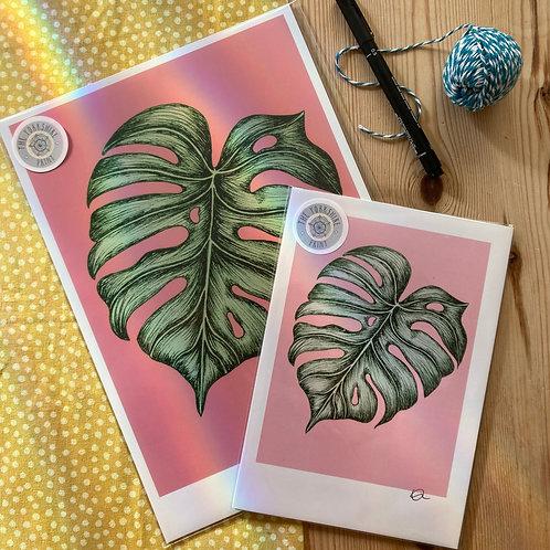 Monstera Tropical Leaf illustration print
