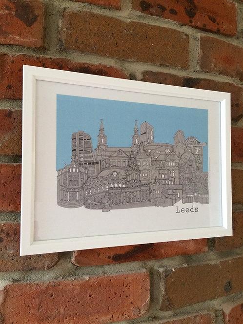 A4 Framed Leeds Skyline signed Print