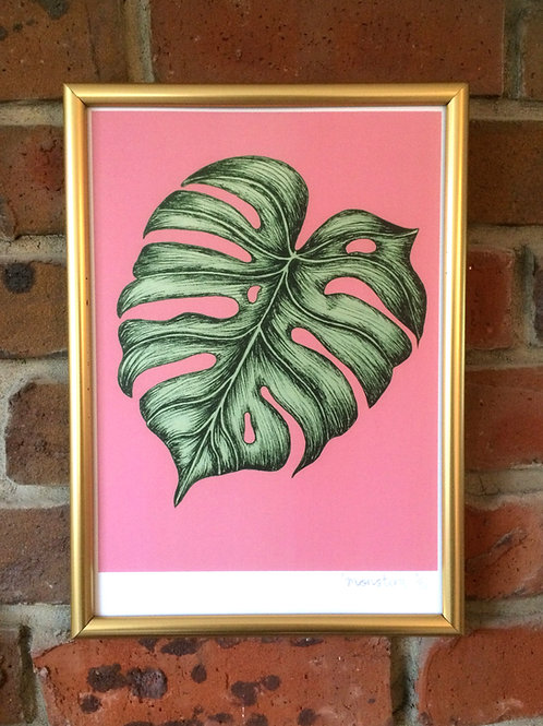 Monstera Tropical Leaf illustration print
