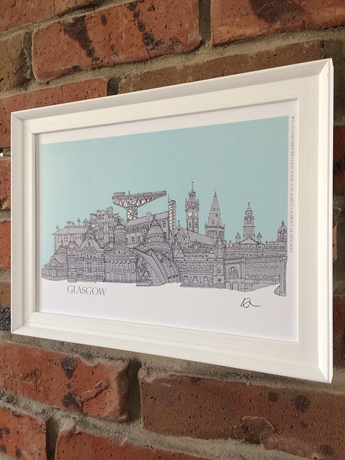 Glasgow A4 Signed Skyline Print (unframed)