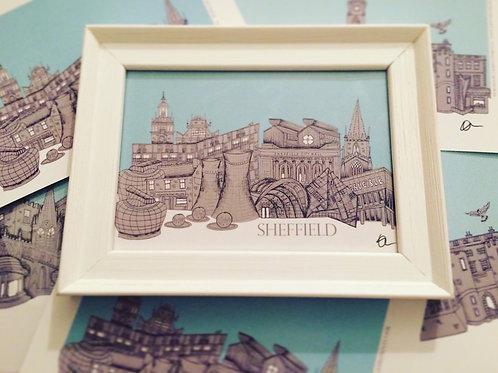 A5 Framed Sheffield Skyline signed Print