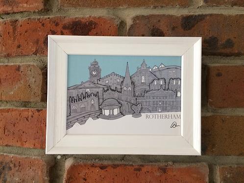 Framed A5 Rotherham Skyline Signed Print