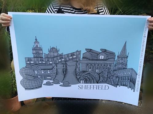 A1 Sheffield Skyline Signed Print