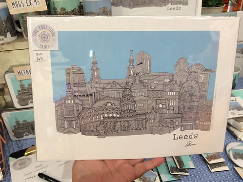 A4 Leeds Skyline signed print unframed