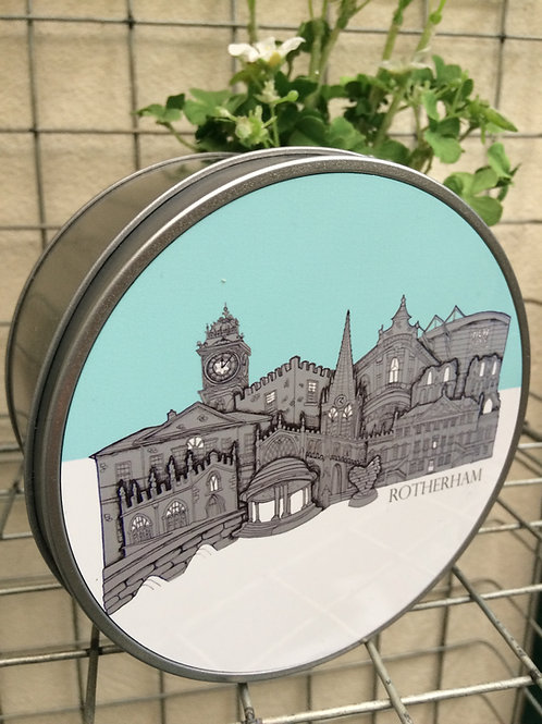 Rotherham Skyline Round Metal Tin