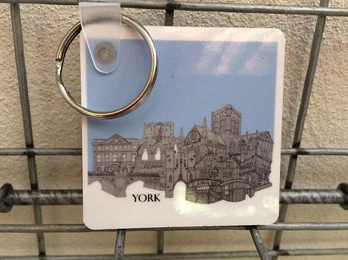 York Double sided keyring