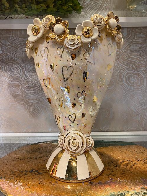 Large Mary Rose Heart Vase