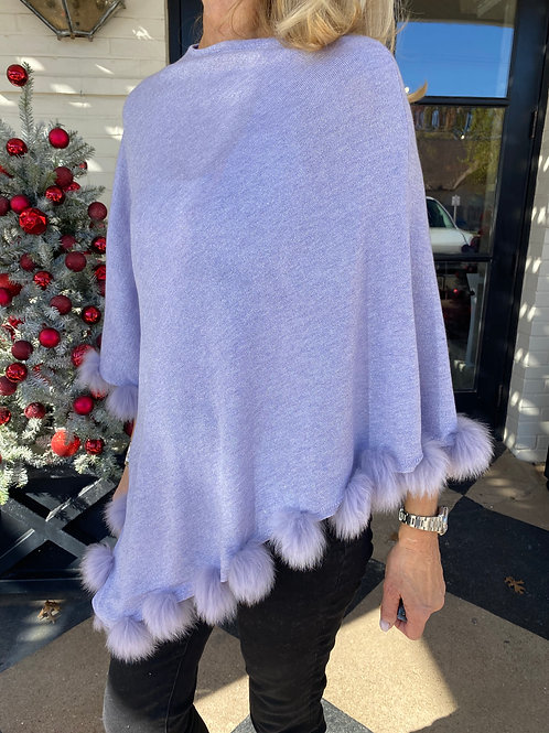 Lilac Shimmer Poncho with Fur Pom Poms