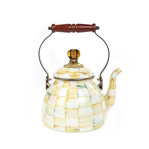 MacKenzie-Childs Parchment Check Enamel Tea Kettle - 2 Quart