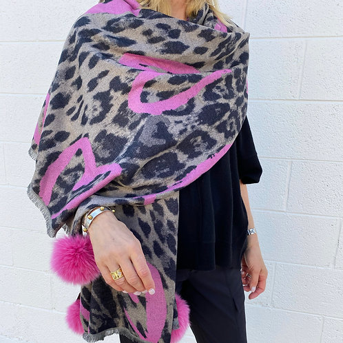 Leopard with Pink Hearts Scarf