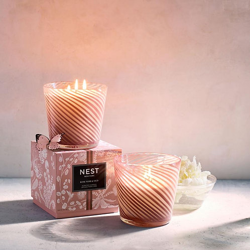 Nest Rose Noir & Oud 3 Wick Candle