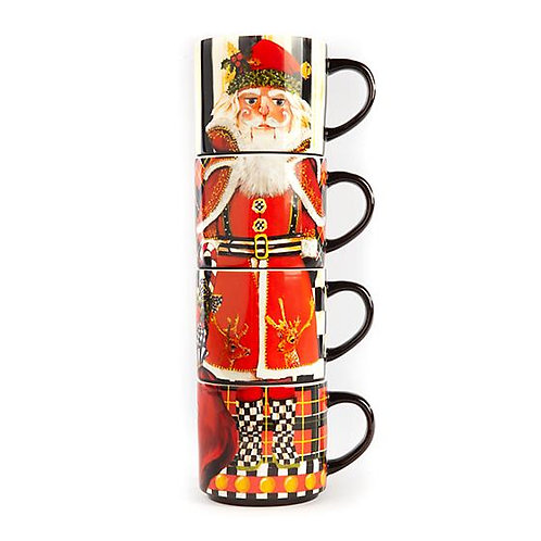 Santa Nutcracker Stacking Mugs - Set of 4