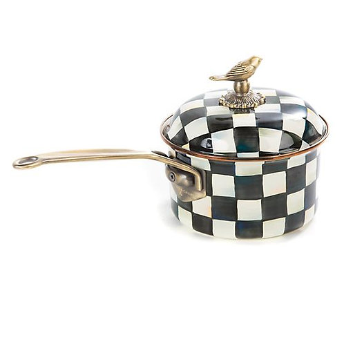 Mackenzie Childs Courtly Check Enamel 2.5 Qt. Saucepan