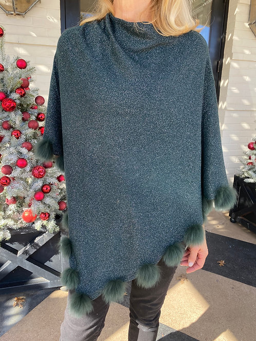 Hunter Green Shimmer Poncho with Pom Poms