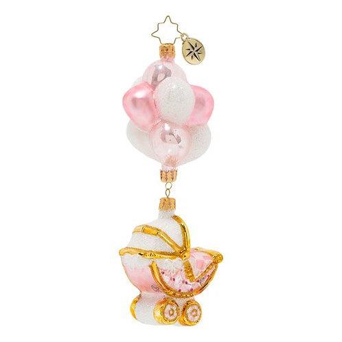 Christopher Radko Baby Girl Buggy & Balloons