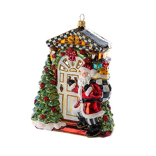 Knock Knock Santa Glass Ornament