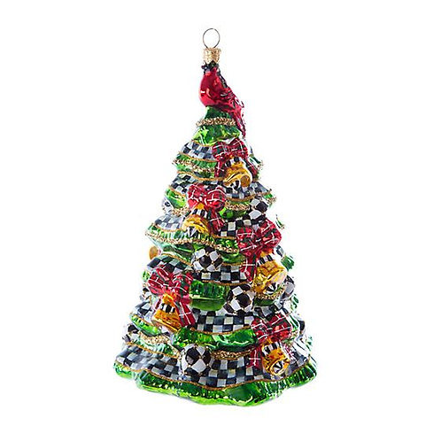 Happy Holidays Tree Glass Ornament