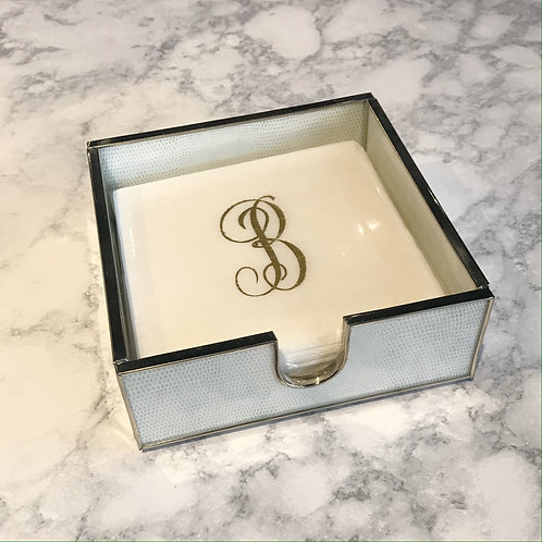 White Cocktail Napkin Holder
