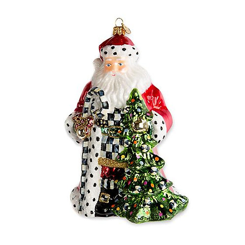 Tree Farm Santa Glass Ornament