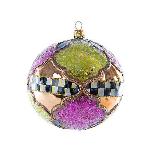 Paradise Patchwork Ball Glass Ornament