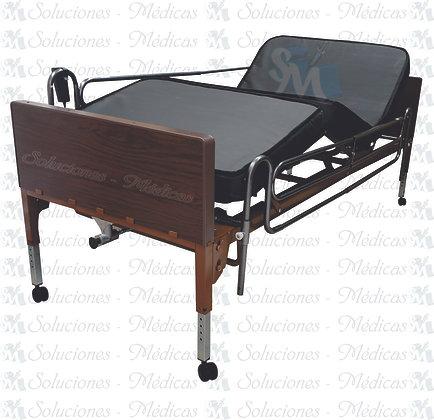 Cama de hospital eléctrica con colchón y barandal