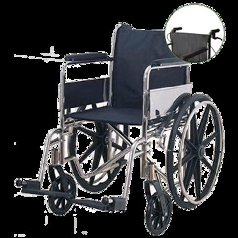 Silla de ruedas de acero cromado con bolsas treser