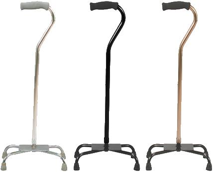 Bastón de aluminio de 4 apoyos base metálica