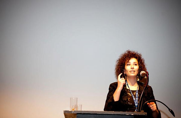 Lia Speaking at the RIDM Cuban Hat compe