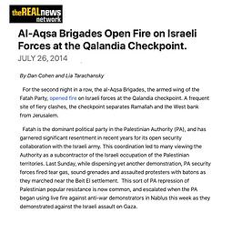 AL-AQSA BRIGADES OPEN FIRE ON ISRAELI FO