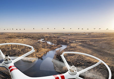 Drone over a River