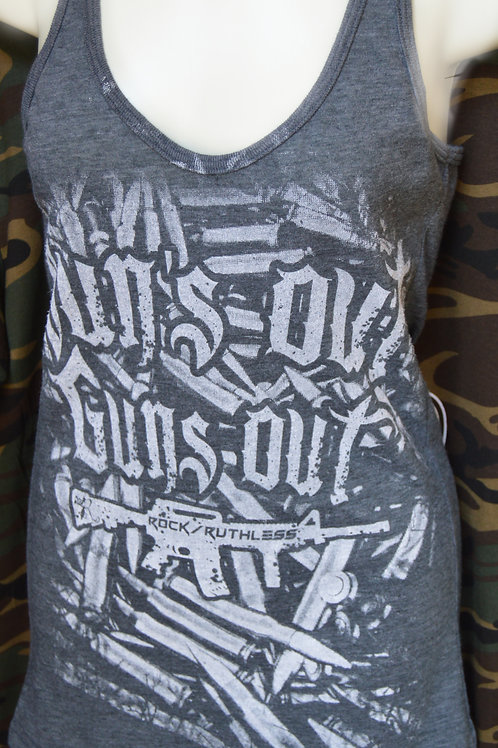 Sun's Out, Guns Out on Girls Racerback Tank