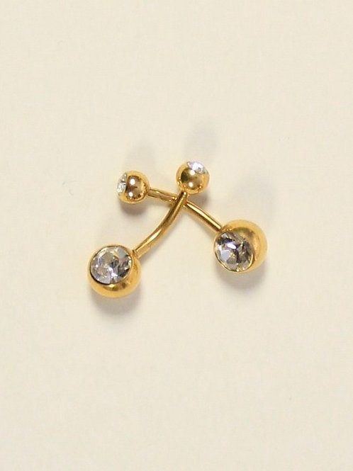 Gold Double Silver Crystal Belly Ring