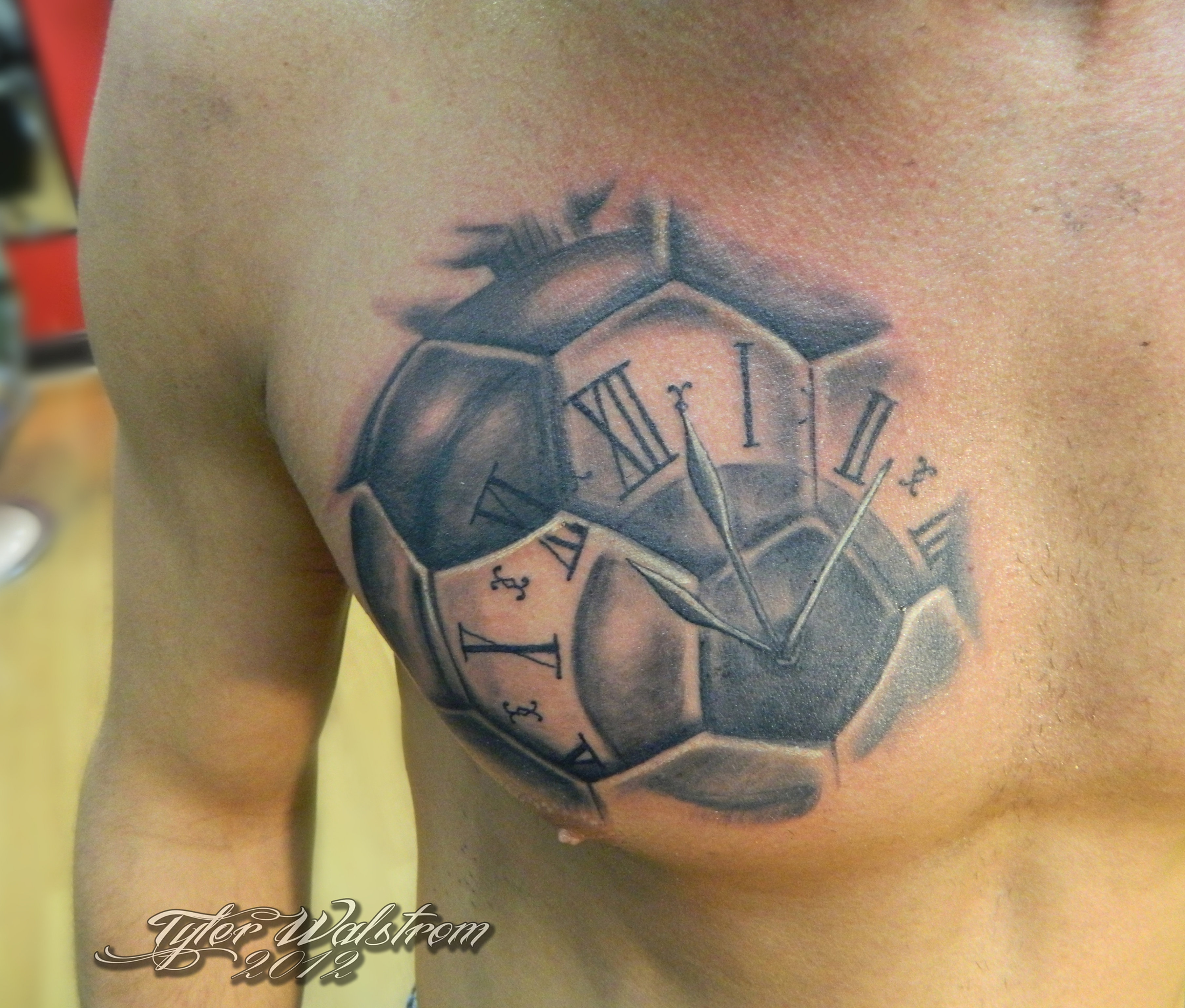 rock and ruthless tattoo parlor soccer ball timepiece. Black Bedroom Furniture Sets. Home Design Ideas