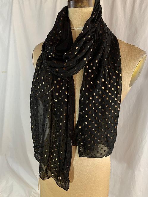 Black Gold-Flecked Scarf