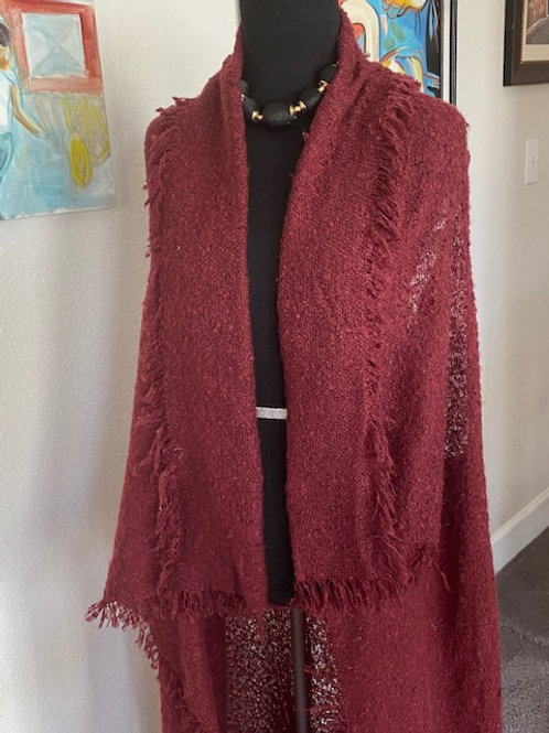 Wine color tunic duster with frills