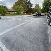 concrete driveway with borders