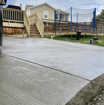broom finish patio with live edge