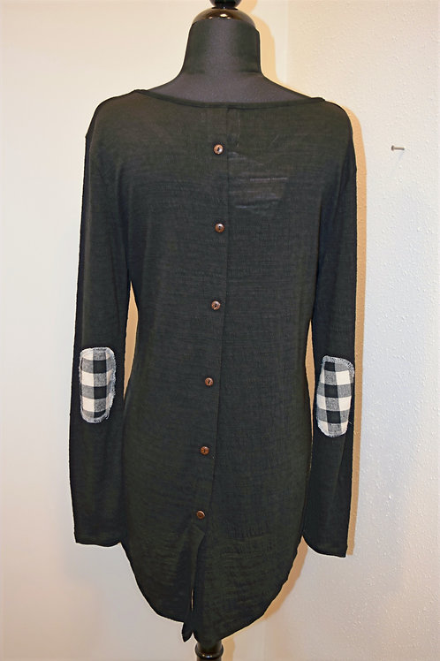 LONG SLEEVE/ BLK & BEI PLAID EL