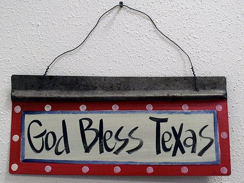 God Bless Texas Metal Sign