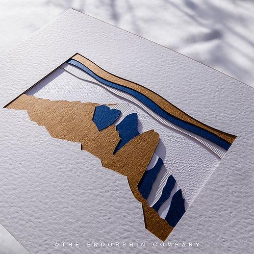 """TABLEAU """"AIGUILLE VERTE"""" - Bleu foncé 30x40cm"""