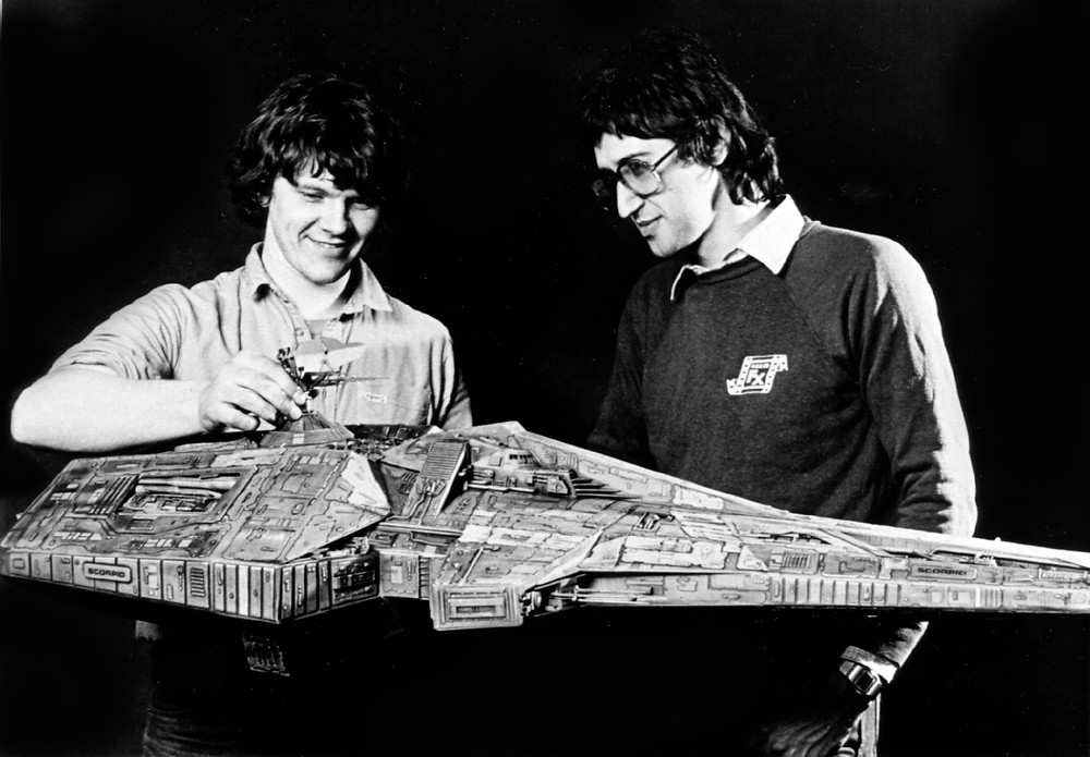 Jim Francis and Andy Lazell with the Scorpio model.