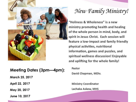 Holiness & Wholeness Ministry -- New ministry at Church of the Master