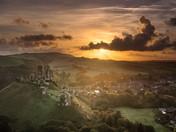 Corfe Castle Sunburst