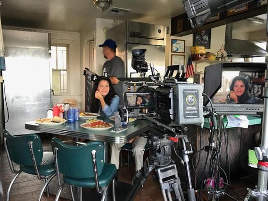 Clubhouse Actress Idalis on set tv pilot