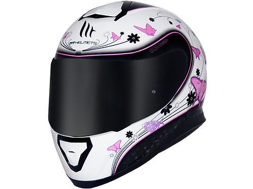 Capacete MT Thunder 3 Butterfly II Branco/Rosa