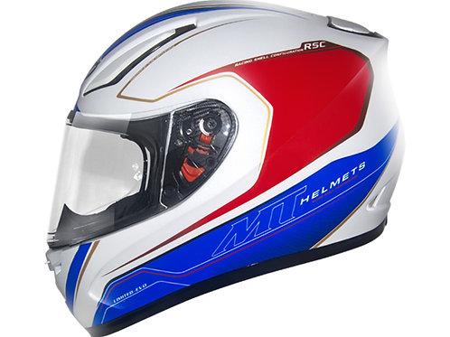 Capacete MT Revange Limited Evo Branco/Azul/Vermelho