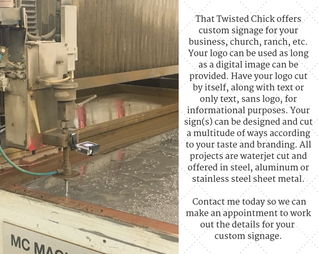 That Twisted Chick offers custom signage