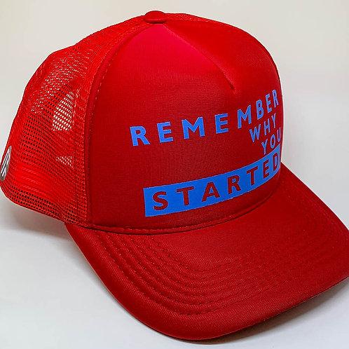 "BONÉ TRUCKER VERMELHO ""REMEMBER WHY YOU STARTED"""