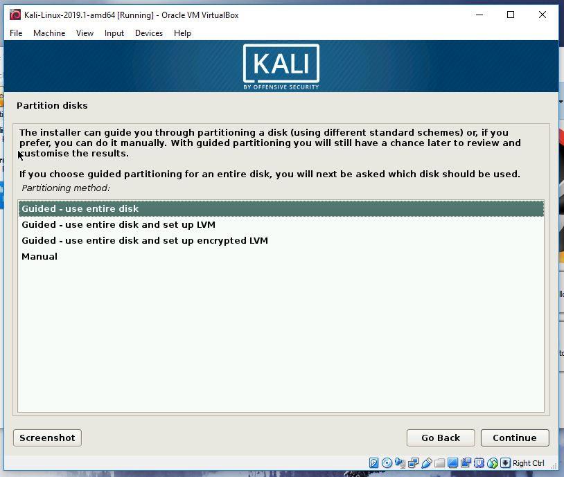 Kali partitioning step 1