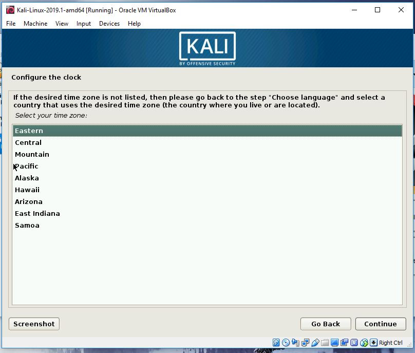 Kali timezone selection